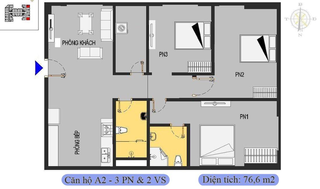 Căn 76,6m2 được thiết kế 3 phòng ngủ & 2 vệ sinh