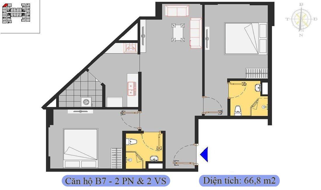 Căn 66,8m2 được thiết kế 2 phòng ngủ & 2 vệ sinh