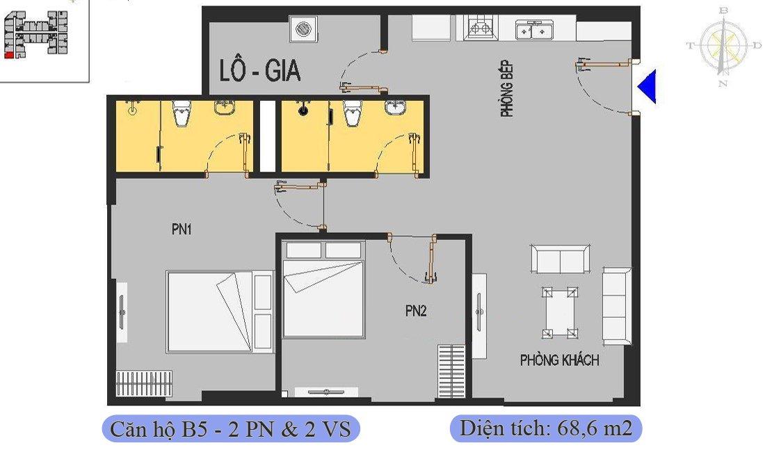 Căn 68,6m2 được thiết kế 2 phòng ngủ & 2 vệ sinh