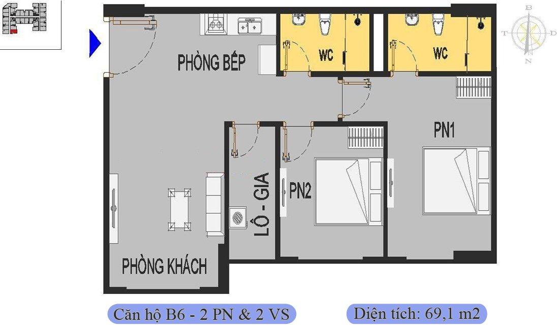 Căn 69,1m2 được thiết kế 2 phòng ngủ & 2 vệ sinh