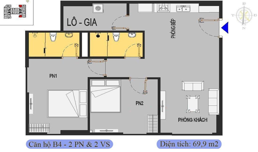 Căn 69,9m2 được thiết kế 2 phòng ngủ & 2 vệ sinh