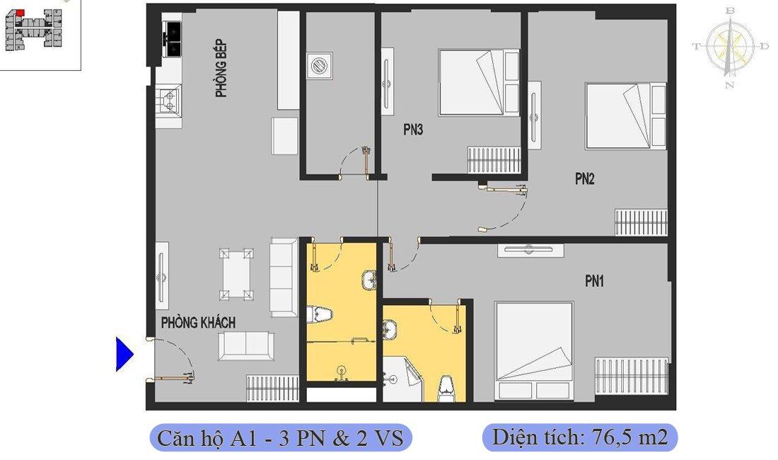 Căn 76,5m2 được thiết kế 3 phòng ngủ & 2 vệ sinh