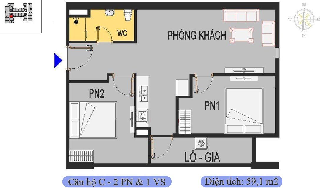 Căn 59,1m2 thiết kế 2 phòng ngủ 1 vệ sinh