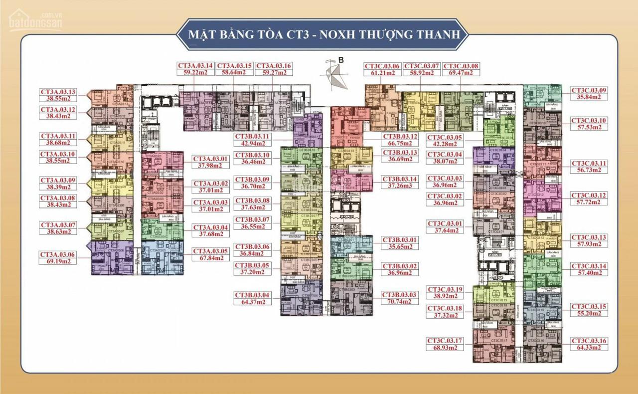 Mặt bằng các Tòa CT3 Dự án Him Lam Thượng Thanh